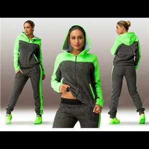 Gray Green Full Zip Hooded Jogger Track Sweatsuit